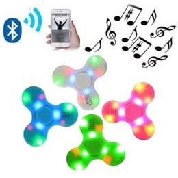 Wholesale Bluetooth Toys - Fidget Spinner 4 Colors with Bluetooth audio LED Usb Hand Spinners Finger spinner toy in Retail Packaging Decompression Toys