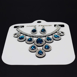 Wholesale Gift Marry - latest necklaces earing set rhinestone fashion ladys jewelry weding blue red green diamond jewelry decorations party wears girls marry gift
