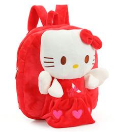 Bonitos mochilas anime on-line-Frete grátis bonito dos desenhos animados do bebê brinquedos de pelúcia boneca mochila crianças Olá Kitty mochila presentes de natal