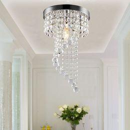 Wholesale Stair Crystal Lamp - 20 25cm Crystal Chandelier Light Modern Ceiling Lamp Fixture Flush Mount Ceiling Light Lamp for Aisle Stair Hallway Corridor Porch Lights