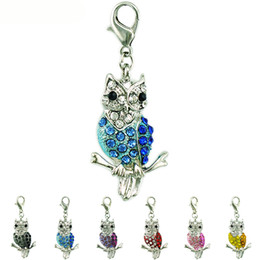 Wholesale Dangling Accessories - Fashion Floating Lobster Clasp Charms Dangle 6 Color Rhinestone Owl Charms DIY Charms For Jewelry Making Accessories