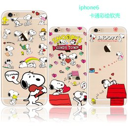 Wholesale Snoopy Cell Phone - Cartoon snoopy Hello Kitty TPU painting cell phone Case For iPhone 7 case Ultra thin Soft silicone clear Back Cover for iphone 5S 6S 7 Plus