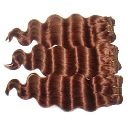 "Wholesale Hair Extension Weft Remy Auburn - 30% off 9A Remy Virgin Malaysian hair extensions 8-32"" 3pcs #33 Auburn Deep Wave Brazilian Human Hair Weave Hair Wefts"
