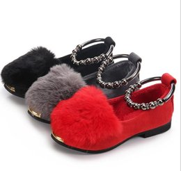 Wholesale Winter Dress Fabrics - New Kids Shoes Spring Girl Princess shoes Fashion Rabbit Hair Ankle Chain Shoes 3 Colors 5 pairs l