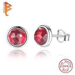 Wholesale 12 Months Dresses - BELAWANG Wholesale 12 Colors for 12 month Imitation Gem Stone Earrings 925 Sterling Silver Crystal Stud Earrings Women Wedding Dress Jewelry