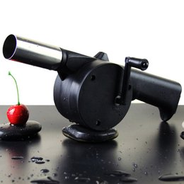 Wholesale Fire Bellows - New Outdoor Cooking BBQ Fan Air Blower For Barbecue Fire Bellows Hand Crank Tool Picnic Camping BBQ
