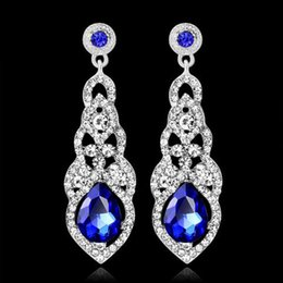 Wholesale Party Dress 18 - 18 k gold plated long earrings fashion jewelry wedding earrings for bride marriage big party earrings pendant party dress