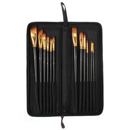 Capelli tontoni online-Pennello per olio per capelli Taklon 12 PC Set con pacchetto di tela nera per l'arte della pittura
