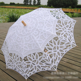 Wholesale White Lace Umbrella Wholesale - Cotton Bridal Parasol Handmade Battenburg Lace Embroidery White Sun Umbrella Elegant Wedding High Quality Photo Props