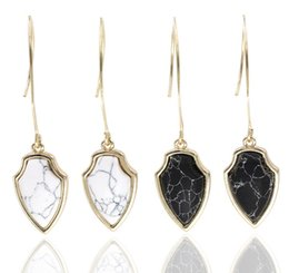 Wholesale Arrow Shapes - Fashion Arrow Shape Dangle Earrings Black and White Faux Marble Stone Tready Drop Earrrings for Women
