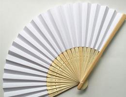 Wholesale Diy Paper Fan - new paper DIY fan handmade wedding paper fan fan craft wedding gift 200 pcs   lot