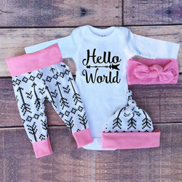 Wholesale Hooded Bodysuits - Kids Fashion Outfits Suits 4pcs Newborn Girls Gold Letter Romper+Pants +Headband 4 pcs Bodysuits Baby Girl Clothing Sets