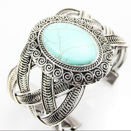 Wholesale Tibet Silver Cuff Bracelet Turquoise - .Retro Style Tibetan Silver Plated Big Oval Turquoise Flower Turquoise Cuff Bangle Bracelet for girl women's Gift