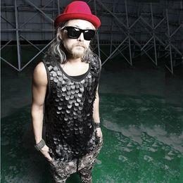 Wholesale Men Fur Size S - Wholesale- New 2017 Summer Fish Scale Cool PU Leather Tank Tops Tee Vintage Sleeveless Fashion Punk Harajuku Men's Vest, Big Size,S-3XL
