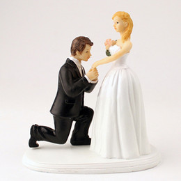 Wholesale Couples Hands - Romantic Cake Topper Hand Painted Couple White Toppers 1st Dance On Bended Knee Groom Kneel To The Brides A Cinderella Moment Figurine