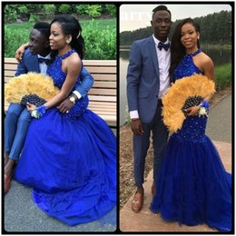 Wholesale Girl Open Sexy Images - Sexy Open Back Royal Blue Mermaid Prom Dresses Long 2017 Court Train High Neck Crystal Lace Tulle Black Girl Women Evening Gowns