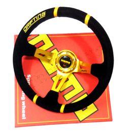 Wholesale Sports Steering Wheels - New 350mm Racing Sport Golden MoMo Deep Corn Drifting Steering Wheel   Suede Leather Car Steering wheels