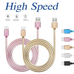 Wholesale Houses Color - High Speed 3ft 6ft 10ft Metal Housing Braided Micro USB Cable Durable Tinning Charging USB Type C Cable for S7 S8 Android Smart Phone OM-O1