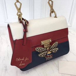 Wholesale Evening Woman Tops - 2017 top quality women original genuine leather bee strip rhinestone pearl bee handbag, women party evening shoulder bag free shipping