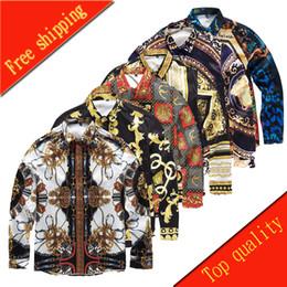 Wholesale Design Shirt Flower - Wholesale-Famous Brand design clothes men galaxy golden dragon flower print long sleeve 3d shirt Baroque printing Medusa men