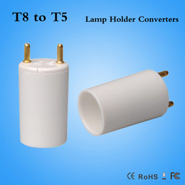 Wholesale Lamp Socket T5 - 31.1mm T8 to T5 socket adapter converter lamp adapter T5-T8 Fire proof PBT T8 male to T5 female DHL Fast shipping