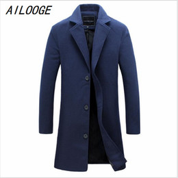 Wholesale Mandarin Suits - Wholesale- AILOOGE New Men's Woolen Coat Solid Color Fashion Long Paragraph Slim Lapel Coat Male Business Suits Men's Casual Jacket 4XL 5XL