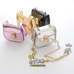 Wholesale Girls Candy Color Messenger Bag - Fashion New Wholesale Bags Gold chain candy color Girls Bags Children Purses Shoulder Bags PU Leather Messenger Bag baby Weekend Bag A794