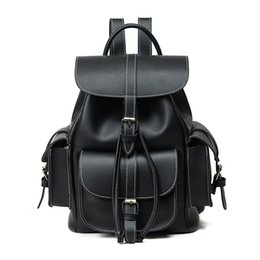 Wholesale Korean Leather Bag Brands - Wholesale- Fashion Middle School Designer Leather Backpacks Black Women Drawstring Bags Brand Solid Casual Vintage Backpack Girl Travel Bag
