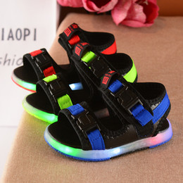 Wholesale China Grey - China wholesale high quality summer light led casual sandals shoes boys kid breathable new arrival blue grey red 22-31