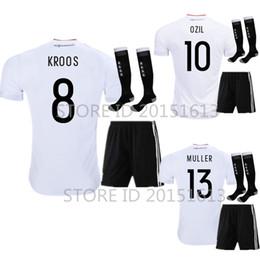 Wholesale Uniform Germany - 2017 2018 Deutschlan Home Uniform Jersey Germany Soccer Jerseys Sets SCHWEINSTEIGER OZIL Gotze Muller Kroos HUMMELS Football Kits and Socks