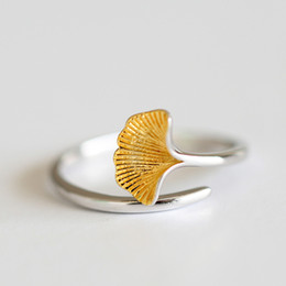 Wholesale Make Cute Rings - Wholesale- Cute plant of Ginkgo leaf rings for lady gift 2016 Beautiful Europe Ginkgo leaves rings for women made by copper rings bulk