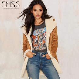 Wholesale Wool Cowboy Coat - Wholesale- 2015 autumn winter new fashion women's clothes Texas Tom west cowboy stylish faux lamb wool Suede thicken coat jacket for women
