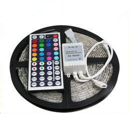 Wholesale White Ac Adapter - Cheap RGB Led Strip Waterproof 5M 3528 SMD 300 LEDs Roll + 44 keys IR Remote+12V 2A Power Adapter Warm Cool White Home Automobile Decoration