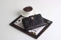 Wholesale H Genuine Leather Wallet - National fahsion brands unique camellia flower embroidery Hasp Standard Wallets Inner outer layer sheepskin leather H-quality unisex wallet