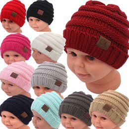 Wholesale Black Red White Beanie - kids winter keep warm cc beanie Labeling hats Wool knit skull designer hat outdoor sports caps for baby children kid 2017 fashion