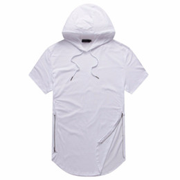 2020 dessins de t-shirts Homme d'été T-shirts Longline Curve Hem T-shirt à capuchon Zipper conception manches courtes Tops Homme Casual promotion dessins de t-shirts