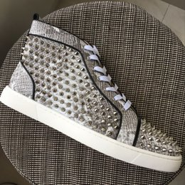 Wholesale Mens High Buckle Boots - New Mens Womens Gray Snakeskin Leather With Spikes High Top Red Bottom Sneakers,Brand Flat Boots Casual Shoes 35-47 Drop Shipping
