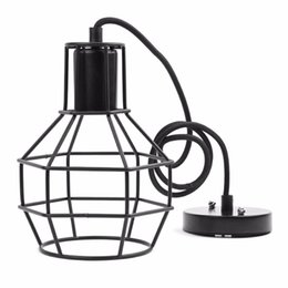 Wholesale Country Style Light Fixtures - Vintage Indoor Lighting Retro Industrial Painted Pendant Iron Cage Lampshade American Country Style Light Fixture