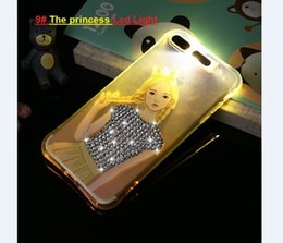 Wholesale Diamond Crystal Led - Bling Glitter Diamond Led light flashing cartoon Mickey Mouse cell Phone Cases for Iphone 5S 6S 7 plus iphone cases Crystal TPU back Cover
