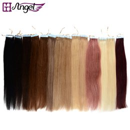 Wholesale 24 Inch Tape Hair - 16-24 inches Tape in Hair Extensions Skin Weft Hair Extensions 100% Natural Human Remy Hair 20pcs set 14 Colors Optional