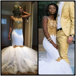 Wholesale Corset Tulle Skirt Prom Dresses - Sexy Mermaid White and Gold African Prom Dresses With Tulle Puffy Skirt Spaghetti Straps Lace Corset Arabic vestido de festa curto