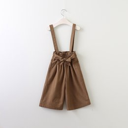 Wholesale Loose Suspenders Girl - Baby Girls Cotton Bow Suspender Pants Kids Girls Fashion Casual Overalls 2017 Babies Spring Loose Trouser children's clothing