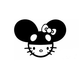 Wholesale Animal Tail Mouse - Wholesale 10pcs lot Lovely Lady Cat Posing Mouse Humor Leisure Car Stickers for Motorhome Bumper Laptop Car Decor Reflective Vinyl Decal