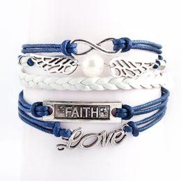 Wholesale Dainty Bracelets - 2017 NEW Infinity Bracelets Charm Bracelet Fashion Leather Bracelets DIY Antique Cross Heart Birds Tree Of Life Dainty Multilayer Jewelry