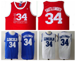 "Wholesale Movie Filmed - Movie Jesus Shuttlesworth Lincoln #34 Ray Allen Jersey High School 1998 Film ""He Got Game"" Jersey Blue White Red Ray Allen Basketball Jersey"
