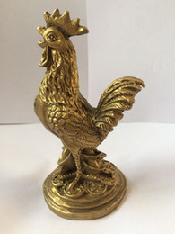 Wholesale Gold Coin India - Chinois fengshui laiton richesse argent coin yuanbao animaux Poulet Coq statue en métal artisanat