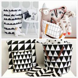 Wholesale Wholesale Canvas Baskets - Ins Storage Baskets Bins Kids Room Toys Storage Bags Bucket Clothing Organizer Laundry Bag Canvas Organizer Polka Dot Laundry JC272