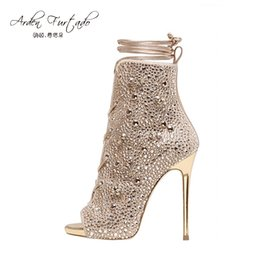 Wholesale Strappy Sandals Rhinestones - 2017 Strappy short ankle boots high heels peep toe crystal shoes sandals handmade ankle strap Custom Women Party Dress Stiletto Summer