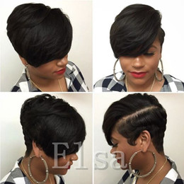Wholesale Black Women Short Wigs - Short cut none lace human bob wigs best human brazilian cheap wig with baby hair glueless wigs with bangs for black women