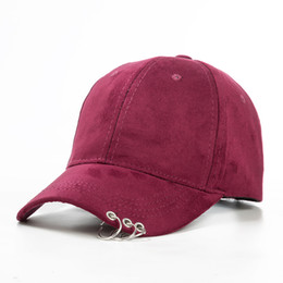 Wholesale Table Pin - Wholesale- 2016 Gd unisex solid Ring Safety Pin curved hats baseball cap men women Suede snapback caps sport casquette gorras